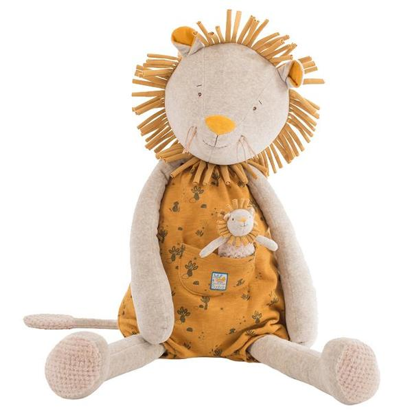 Kids Moulin Roty Sous Mon Baobab Giant lion Soft Toy With Baby - Paprika