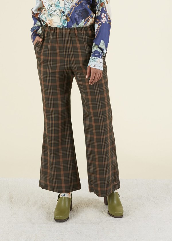 Hache Flare Leg Easy Pant - olive
