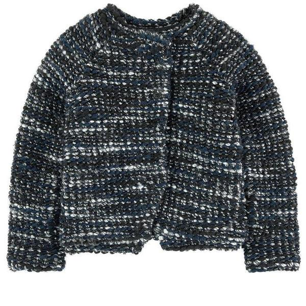 KIDS treehouse joa wave knit jacket - black/navy/grey