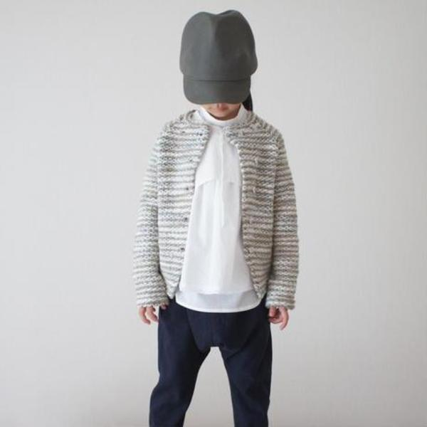 KIDS treehouse joa wave knit jacket - brown/ivory/grey