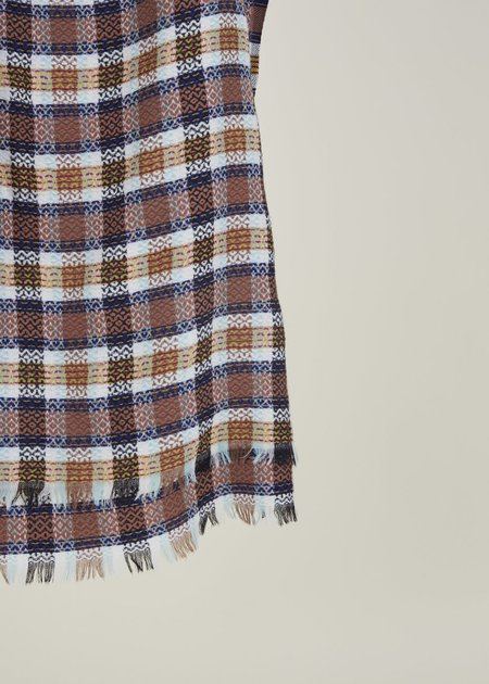 Epice Square Plaid Wool Scarf - Ivory/Toffee