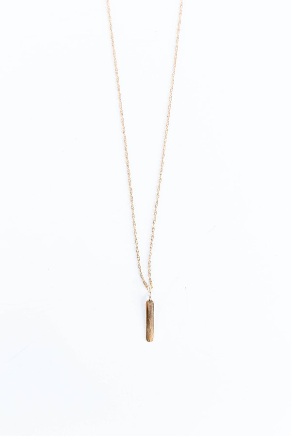BLANCA MONROS GOMEZ VERTICAL ID NECKLACE WITH CHAIN - 14K Yellow Gold