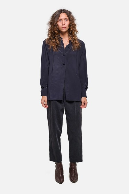 House of St. Clair DRE BLOUSE - NAVY SILK
