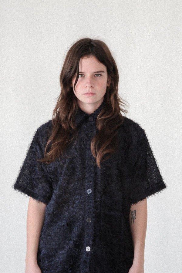 KkCo Fuzzy Jacquard Boy Shirt - navy