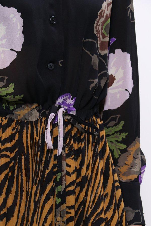 No.6 Roman Zebra with Black Lilac Hyacinth Georgette Dress - Tobacco/Black