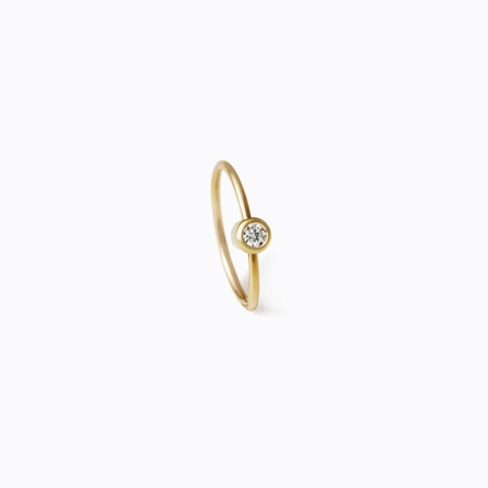 Shihara One Stone Hoop Earring 12mm - 18K Gold