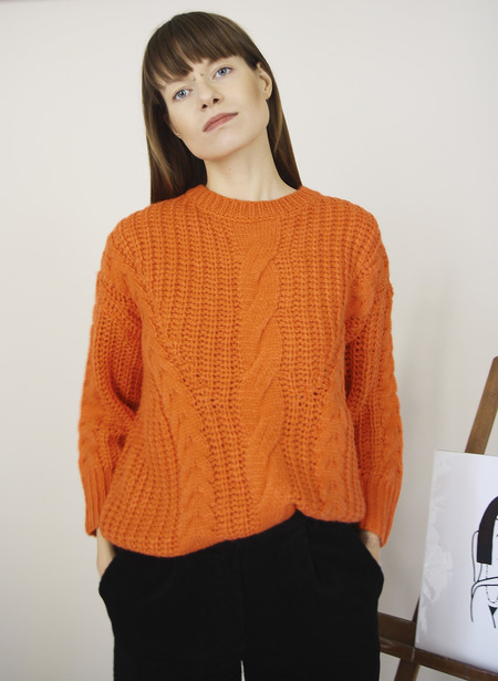 YUKA PARIS Maud Chunky Cable Knit - Orange