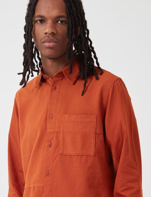 Folk Fraction Cord Shirt - Cinnamon Orange