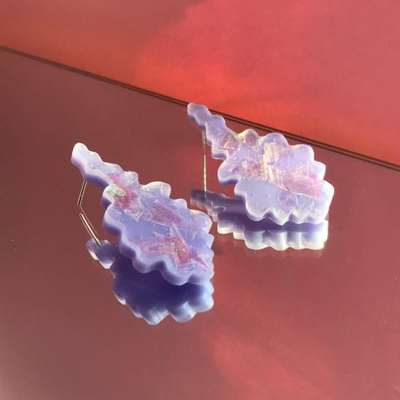 Wasted Effort OOAK PLUME EARRINGS - LILAC GLITTER