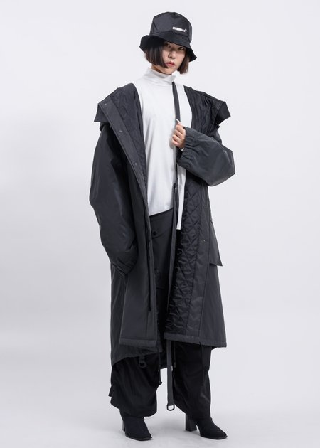 Hyein Seo Reflective Padded Fishtail Parka with Detachable Bag - silver