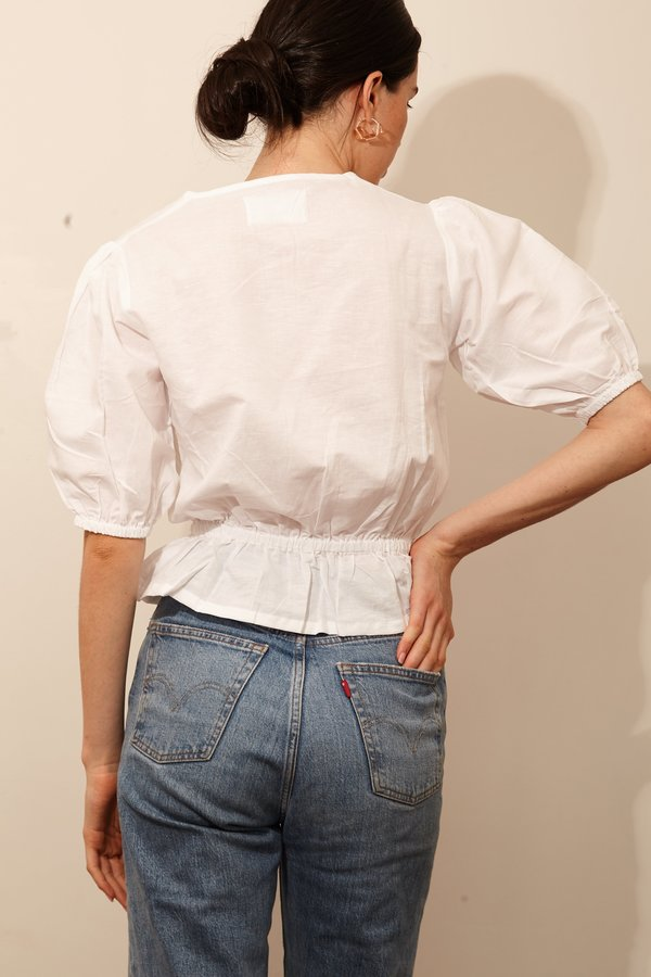 Bare Bones Puff Sleeve Blouse - White