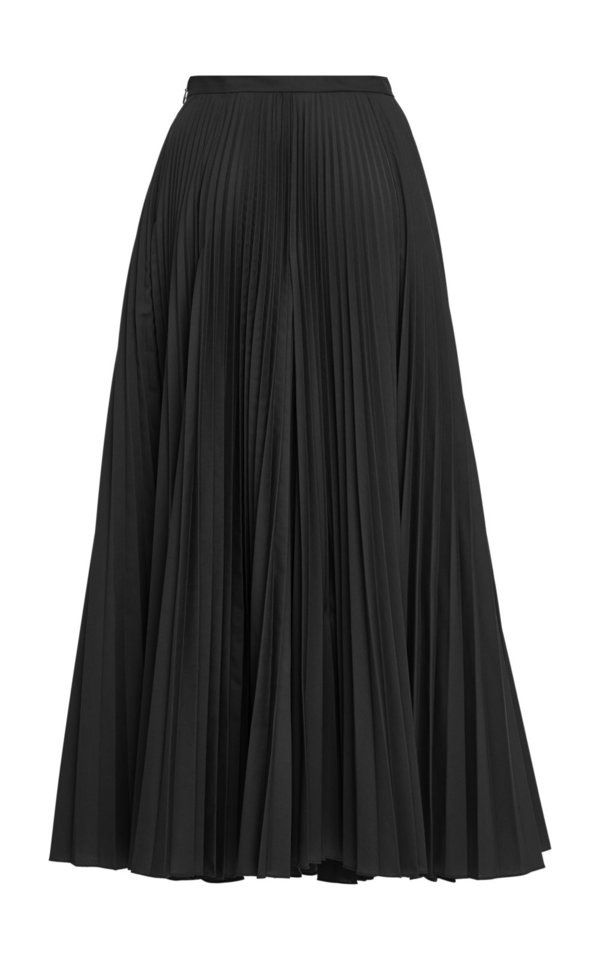 CLAUDIA LI Pleat on Pleat Midi Skirt - Black