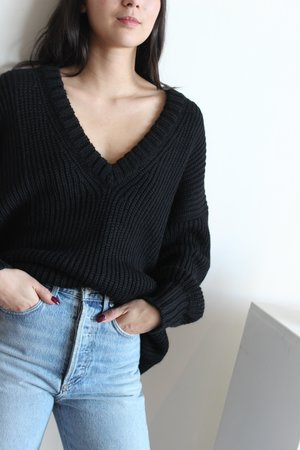 First Rite Long V Sweater