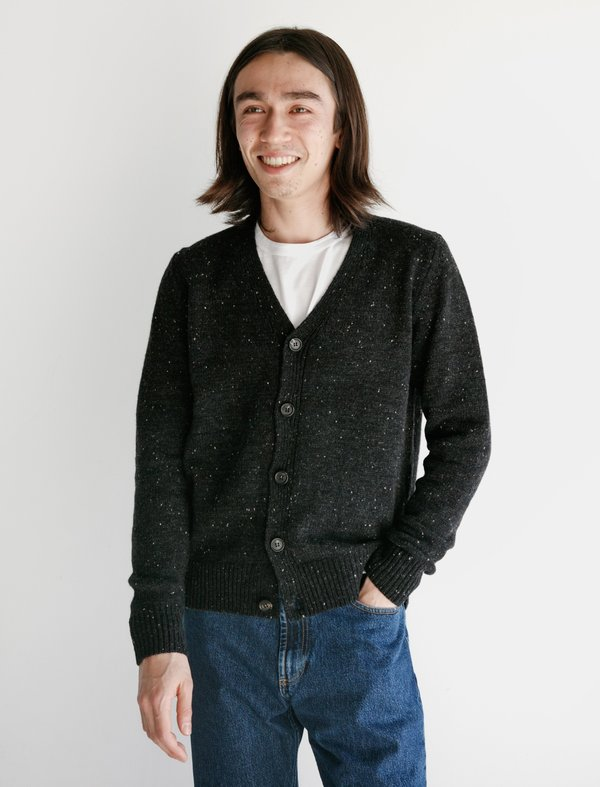 Norse Projects Adam Cardigan Neps - Charcoal Melange