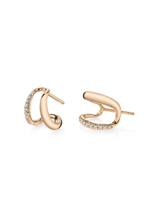 Gabriela Artigas Twin Tusk Pave Earrings - Rose Gold