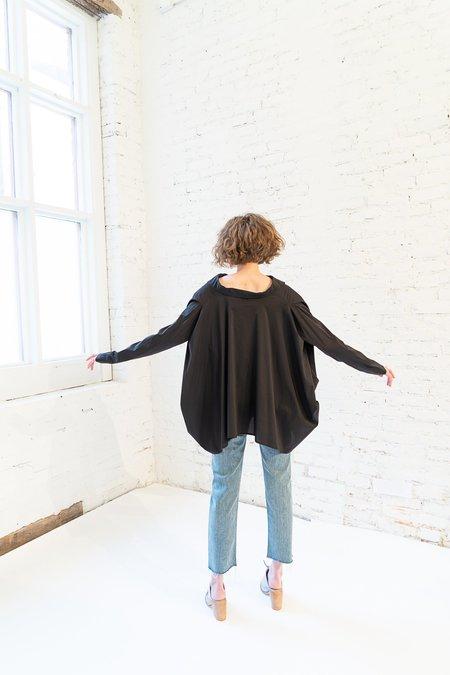 MAKS Asymmetrical Cape Shirt - Black