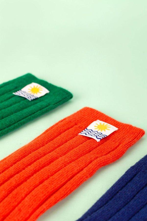 L.F.Markey Ribbed Cashmere Socks - Lava