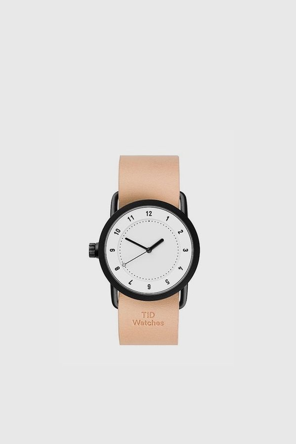 TID Watches No. 1 36mm Leather Wristband Watch - White/Natural