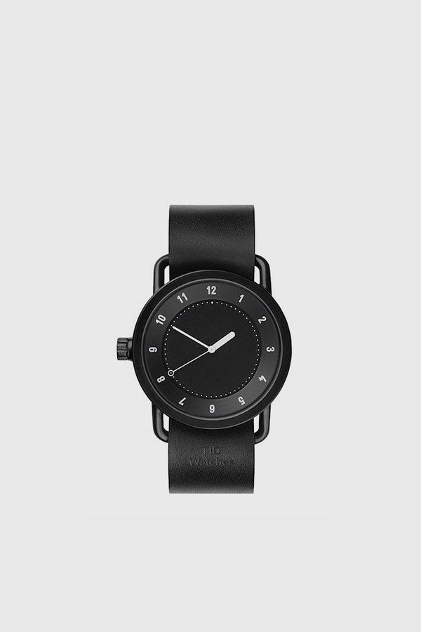 TID Watches No. 1 40mm Leather Wristband Watch - Black/Black