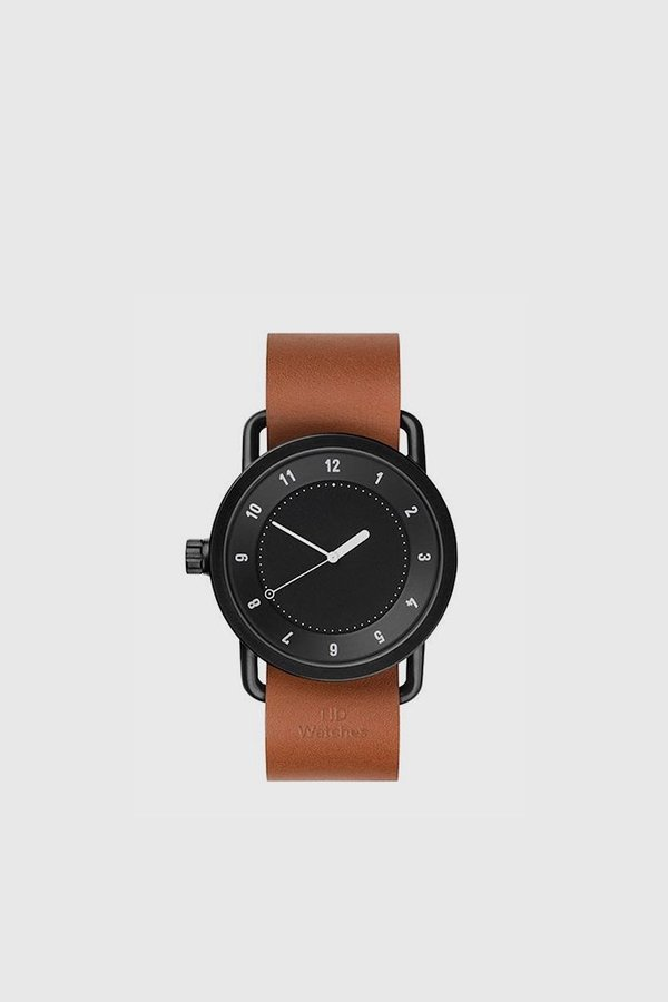 TID Watches No. 1 40mm Leather Wristband Watch - Black/Tan