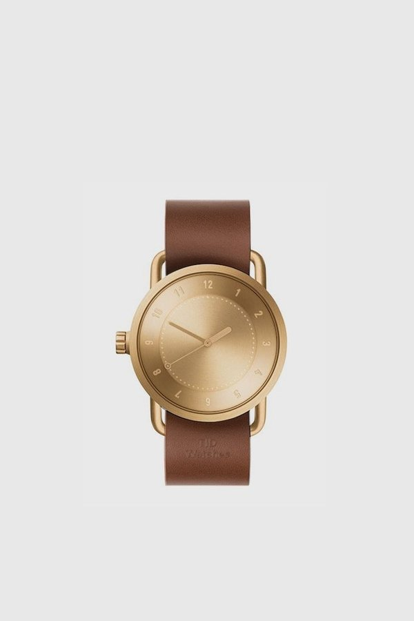 TID Watches No. 1 40mm Leather Wristband Watch - Gold/Tan