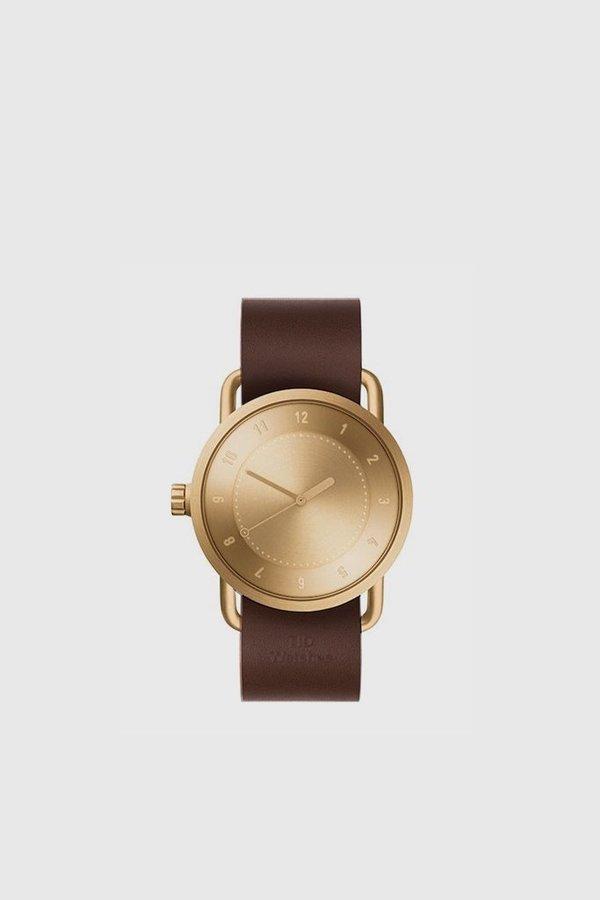 TID Watches No. 1 40mm Leather Wristband Watch - Gold/Walnut