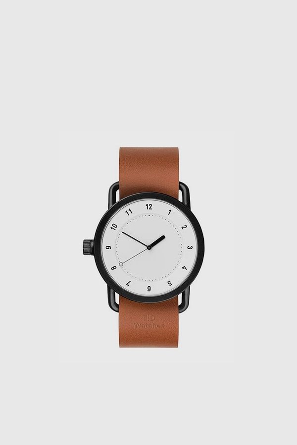 TID Watches No. 1 40mm Leather Wristband Watch - White/Tan