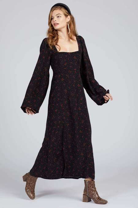 Free People Iris Midi Dress - Black