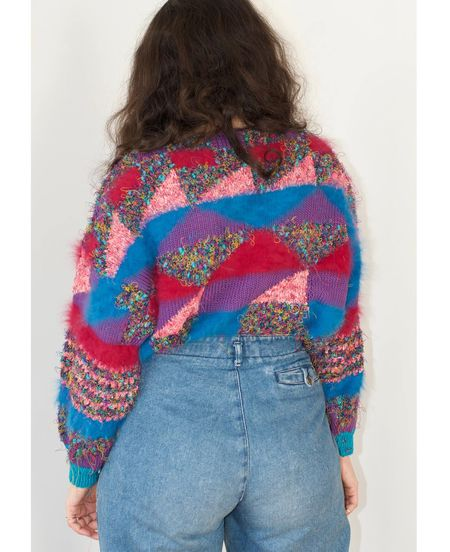 vintage Cubist hand knitted sweater