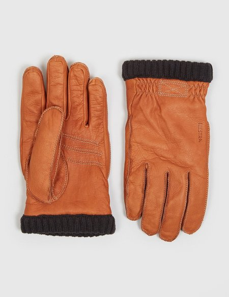 Hestra Deerskin Primaloft Rib Gloves - Cork Brown