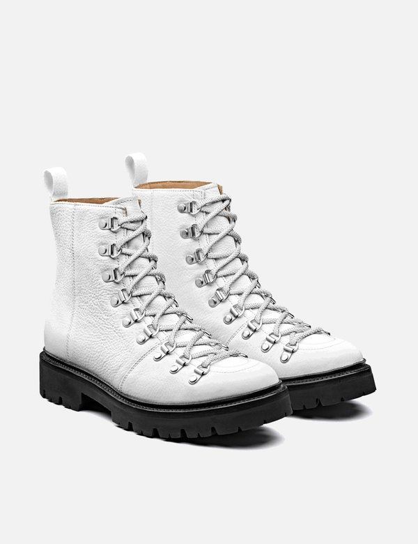 Grenson Nanette Softie Leather Hiker Boots - White/Black
