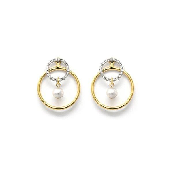 Joomi Lim 2-Part Hoop & Crystal Hoop Earrings W/ Pearl Drops
