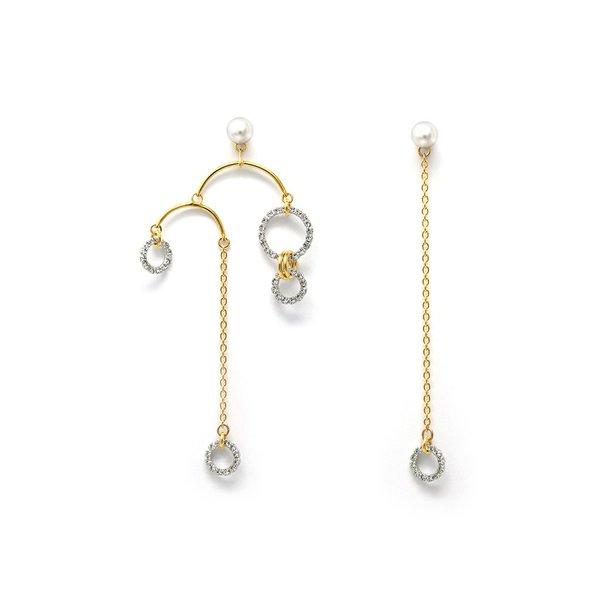 Joomi Lim Asymmetrical Crystal Hoop & Pearl Chandelier & Chain Earrings