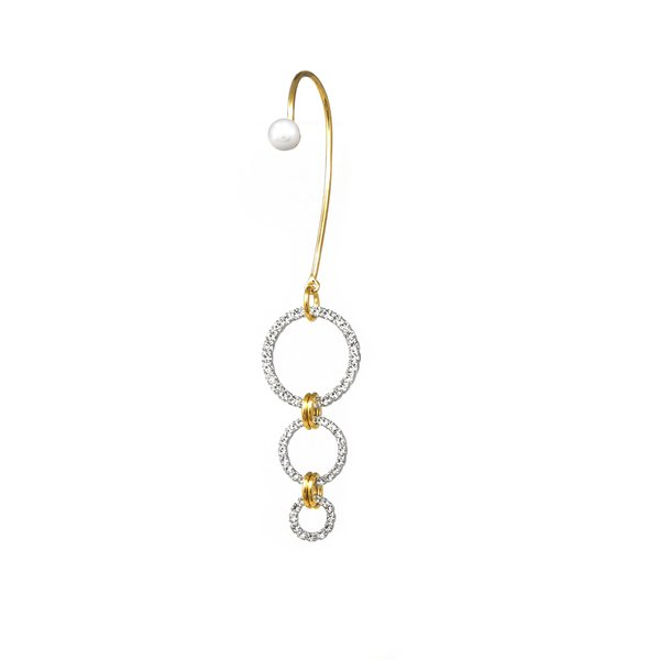 Joomi Lim Crystal Hoop & Pearl Ear Cuff Earrings