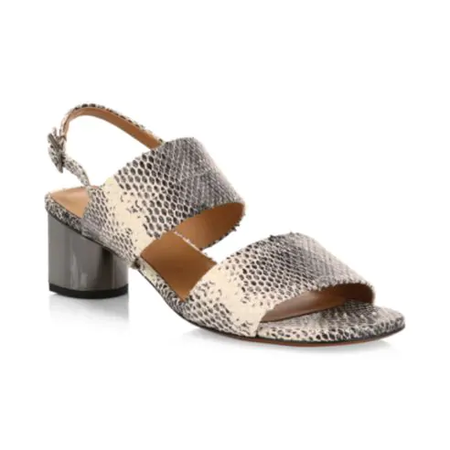 Robert Clergerie Leonieco Leather Snakeskin Embossed Sandals - Cobra
