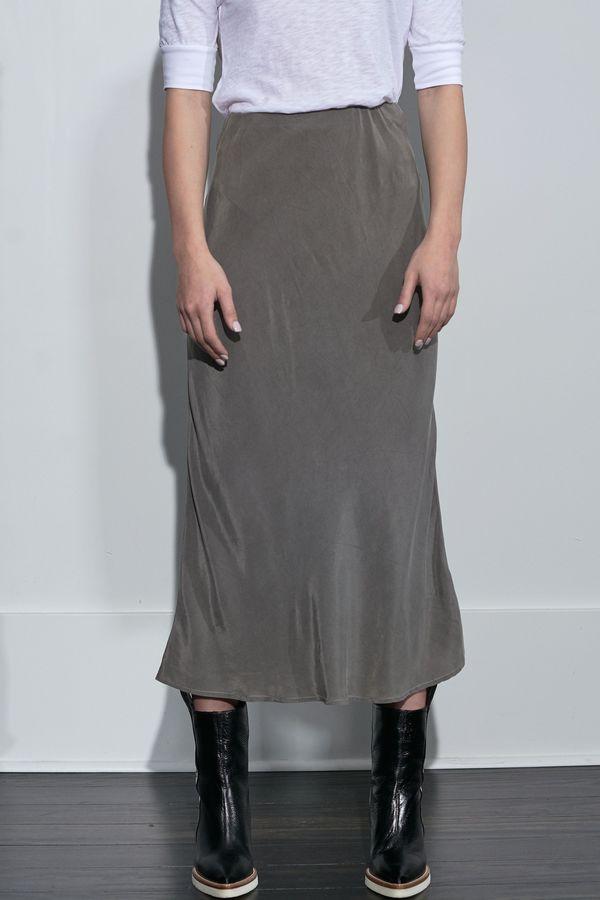 Stateside Cupro Bias Midi Skirt - Granite