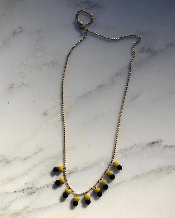 I. Ronni Kappos Green and Black Charms on Chain Necklace