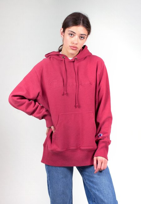 Champion Europe Reverse Weave Faded Logo Hoodie - deep red