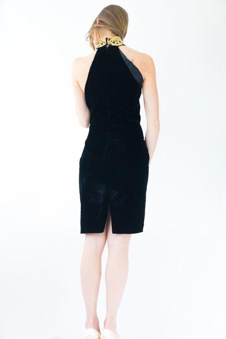 Backtalk PDX Vintage Holiday Dress - Black Velvet Gold