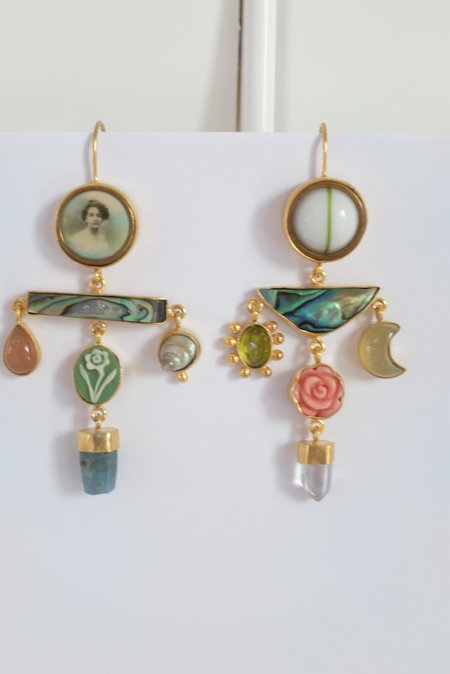 Grainne Morton Balance Drop Earrings - Pink/Green