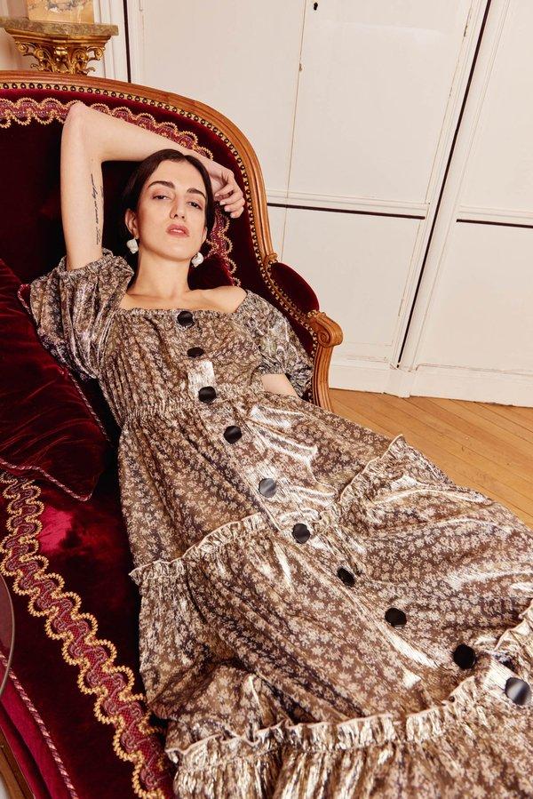 NIKA TANG Foil Printed Magdalena Dress - gold