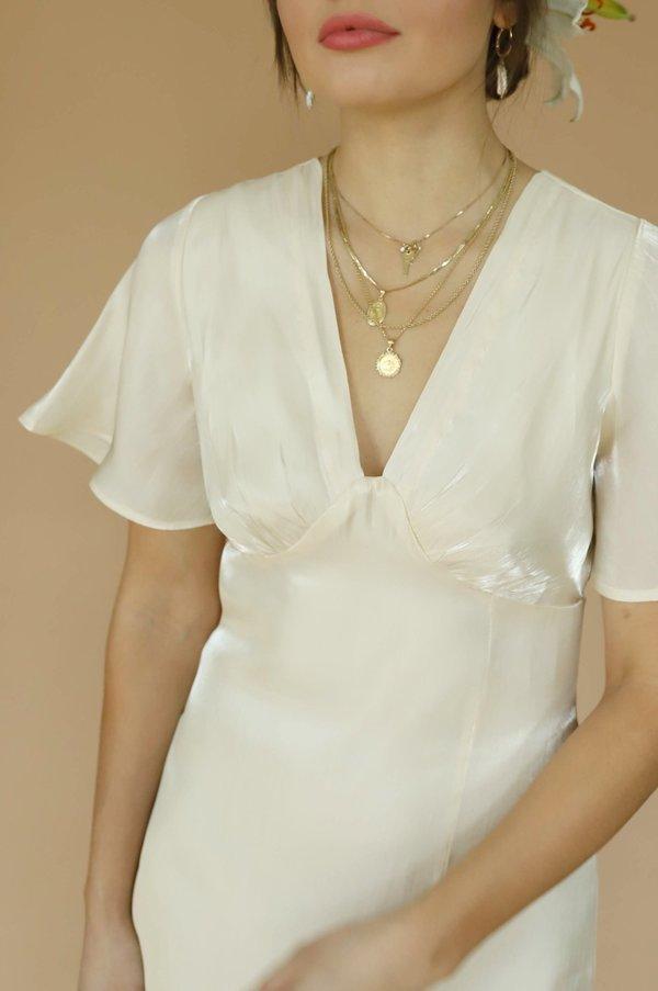 Dear Society Flutter Sleeve Slit Dress - Champagne