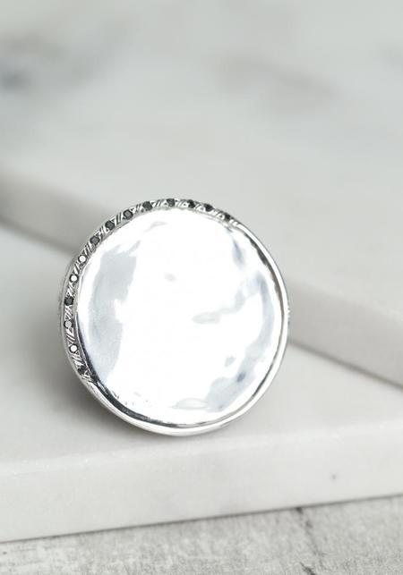 Simona Tagliaferri Large Black Diamond Half Banded Circle Ring - Silver