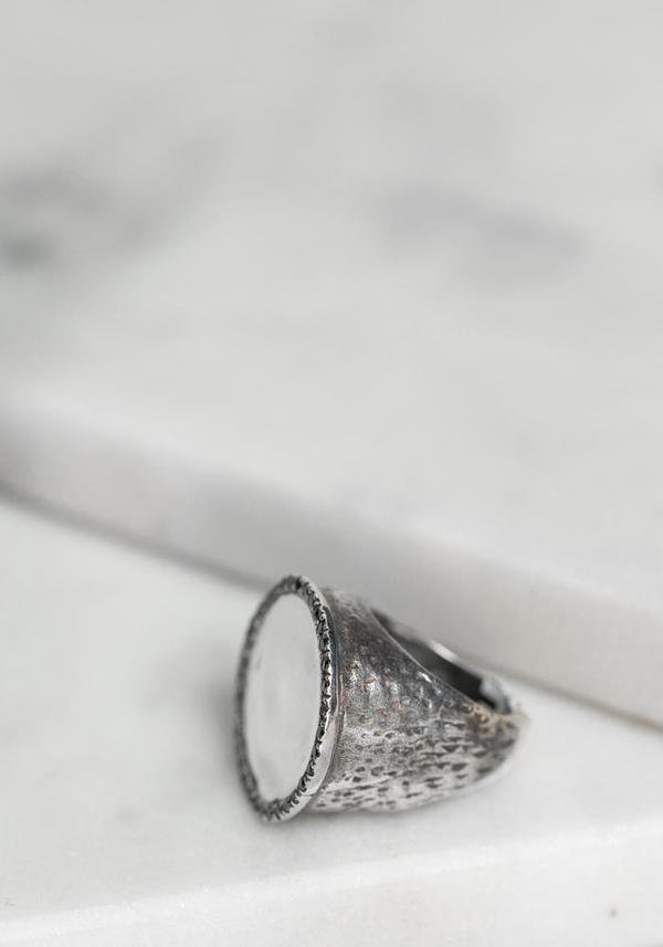 Simona Tagliaferri Small Black Diamond Rimmed Circle Ring - Silver