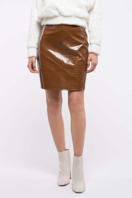 Moon River Faux Patent Leather Mini Skirt - Brown
