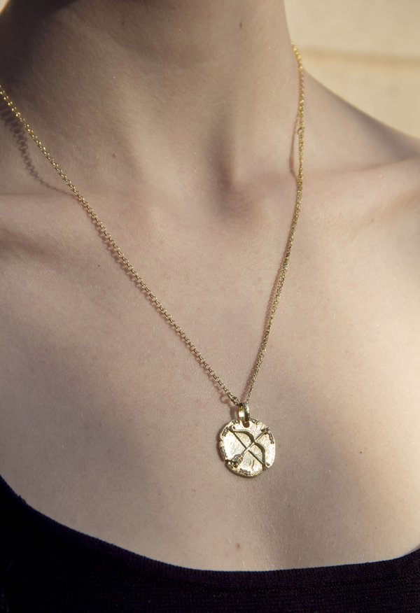 SS JEWELRY Crossbow Coin Necklace - 14k Gold Vermeil