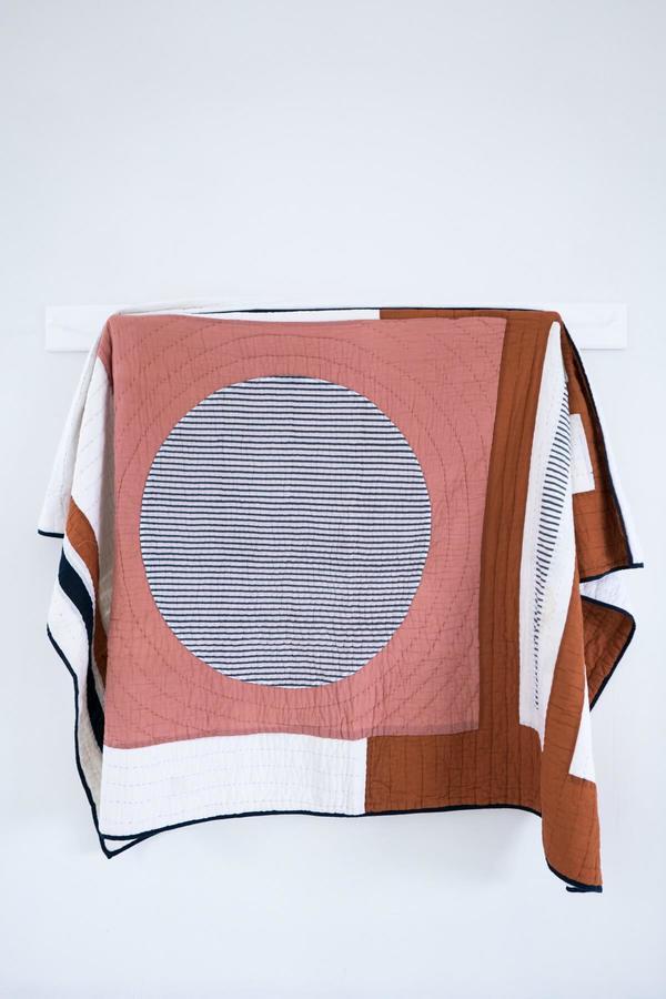 Karu Block Print Patchwork Quilt - Coral/Rust