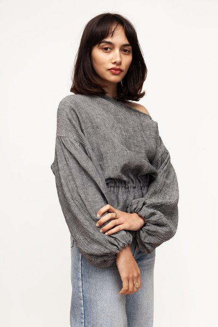 BEFORE MARCH Anna frill blouse - grey chambray