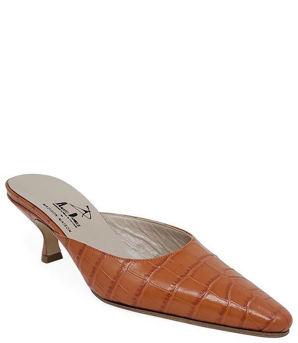 Amato Daniele Printed Croc Low Heel Mule - Orange