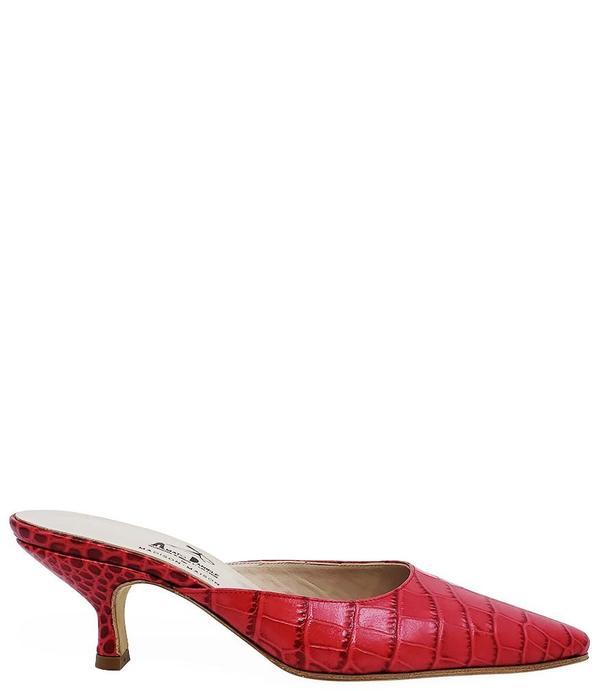 Amato Daniele Printed Croc Low Heel Mule - Red